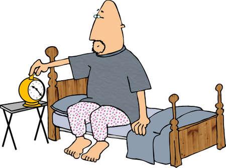 pajama: Setting the alarm clock Stock Photo