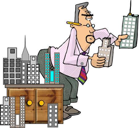 Man looking at model buildings Zdjęcie Seryjne