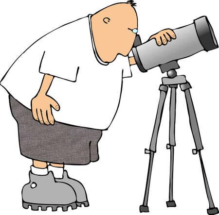 Hombre mirando a trav�s de un telescopio  Foto de archivo - 401478
