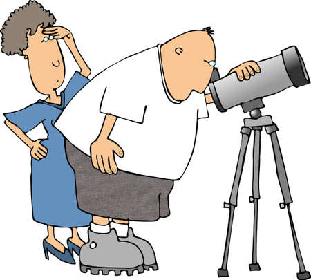 Man and woman with a telescope Stock Photo