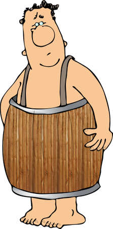Man in een vat Stockfoto
