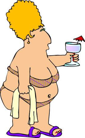 Chubby woman in a bikini