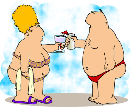 Two chubby people in swim suits. Stock Photo - 401470
