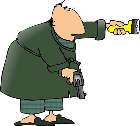 pajama: Man with a flashlight and gun