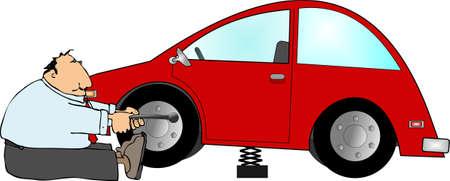 lug: Flat tire Stock Photo