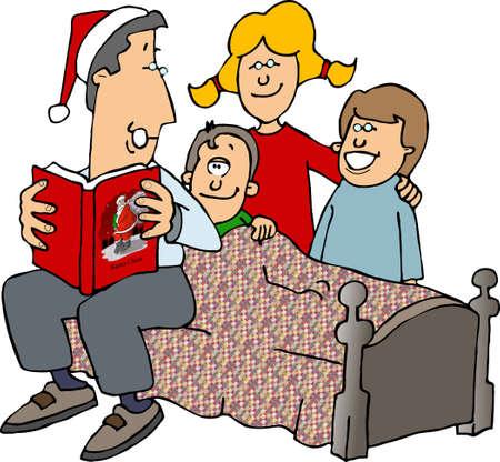 Reading Christmas stories Banco de Imagens