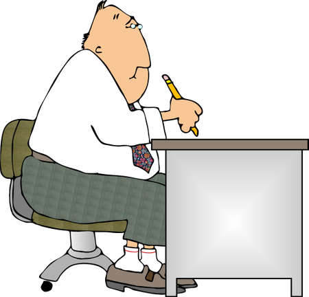 Man working at a desk Stock Photo