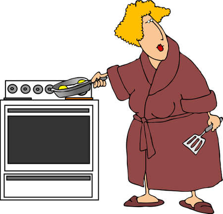 gal: Woman cooking eggs