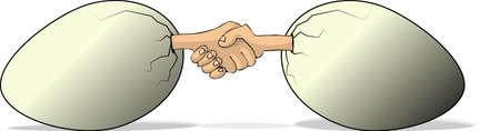 Eggs shaking hands Stock fotó