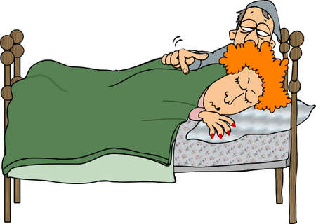 lass: Man waking up his wife Stock Photo