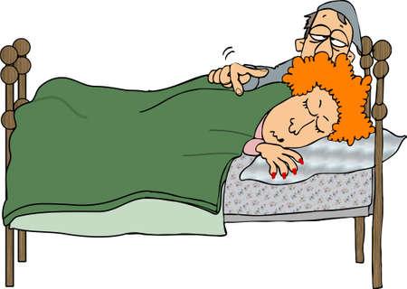 Man wakker zijn vrouw Stockfoto