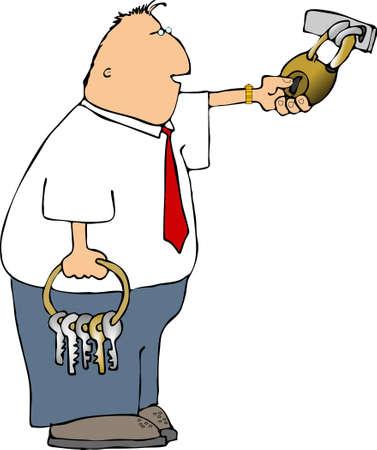 keyring: Man with keys
