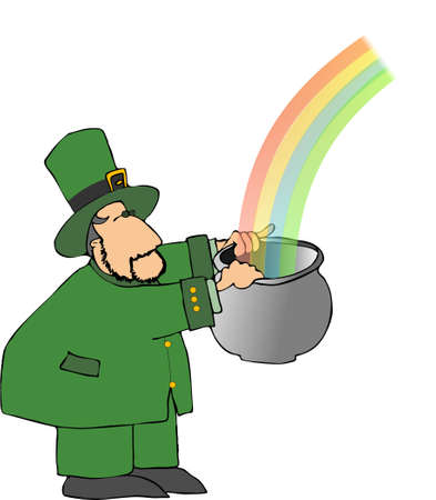 Leprechaun with a rainbow Stock Photo - 376153