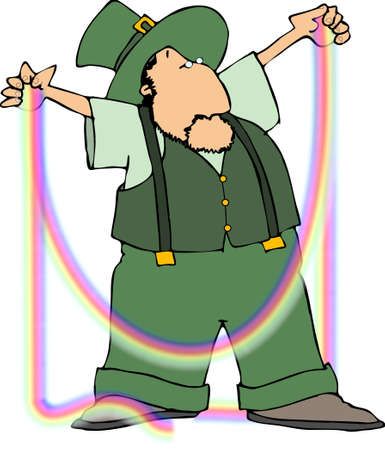 Leprechaun with a rainbow Stock Photo - 376152