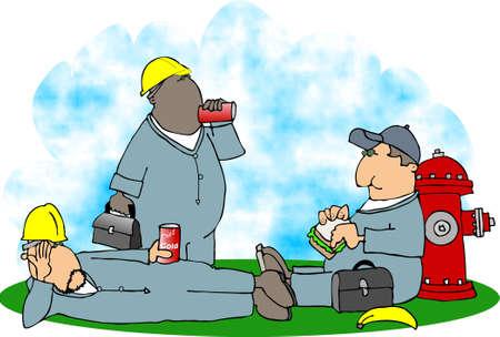 점심 시간에 건설 노동자