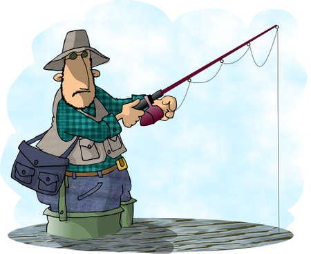 hombre pescando: Hombre de pesca  Foto de archivo