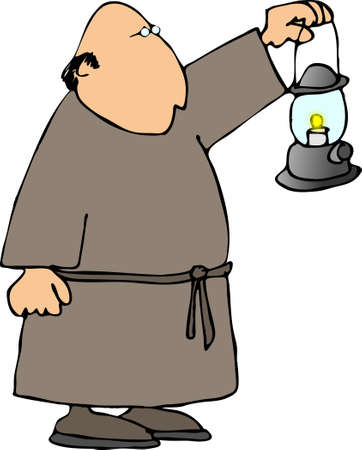 Monk with a lantern photo