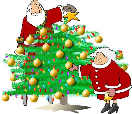 dona: Santa Claus y de la Sra decorar un �rbol  Foto de archivo
