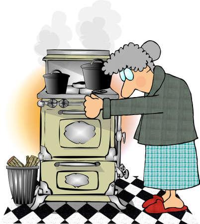 Woman cooking Stok Fotoğraf