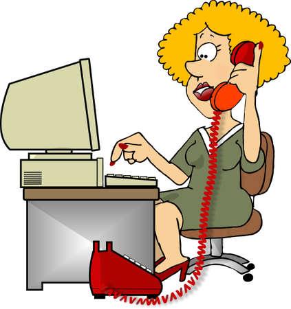 Vrouw met een telefoon en computer