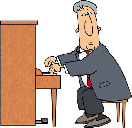 Man playing a piano 版權商用圖片
