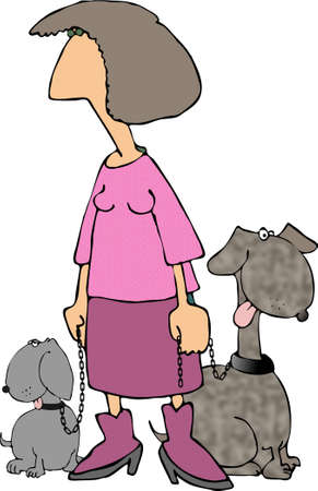 lass: Woman with two dogs