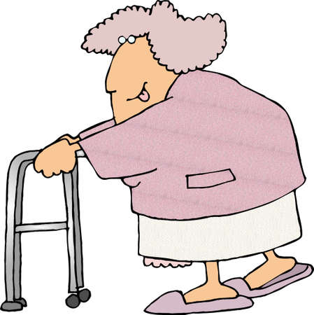 walker: Old woman using a walker