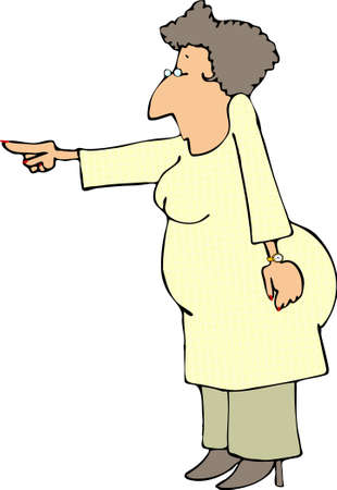 Woman pointing to the left