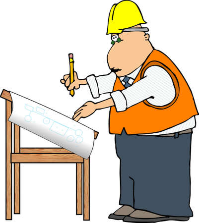 Man at a drawing board