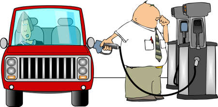 gas man: Man filling car with gas Stock Photo