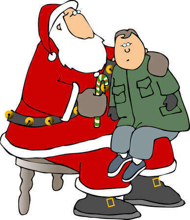 nick: Santa with boy on his lap Stock Photo