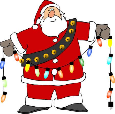 st  nick: Santa holding Christmas lights