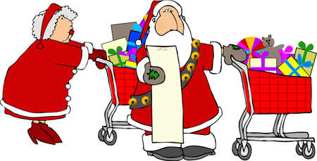 mrs: Santa & Mrs Claus shopping