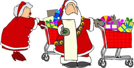 dona: Santa Claus y la Sra compras