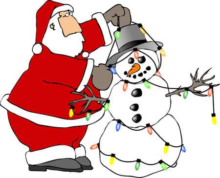 st  nick: Santa decorating a snowman Stock Photo