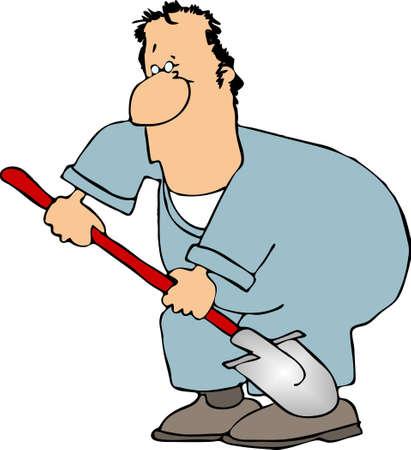 El hombre con una pala  Foto de archivo - 402842