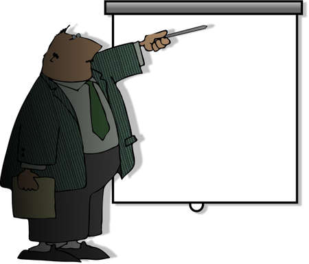 projected: Man giving a presentation with a projected screen Stock Photo