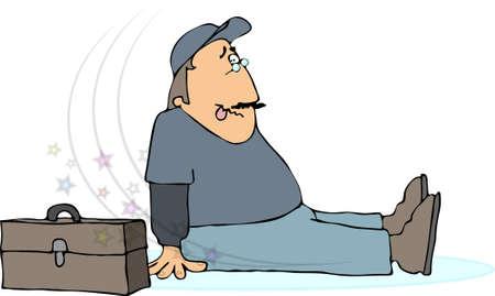 Man falling on ice Stock Photo