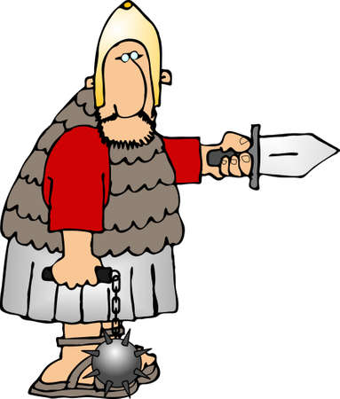 Roman soldier with weapons photo
