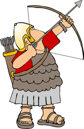Roman soldier with a bow & arrow Stock Photo