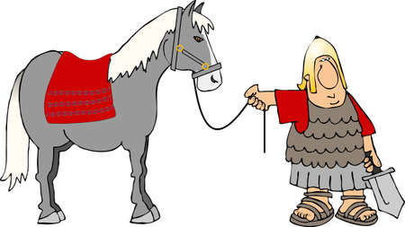 roman soldier: Roman soldier and a horse Stock Photo