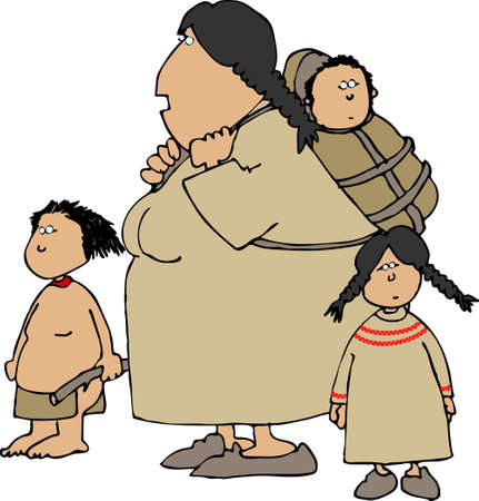 papoose: Indian squaw and kids