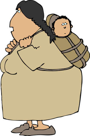 papoose: Indian squaw and papoose Stock Photo