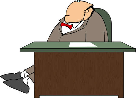 Man stretched out behind a desk photo