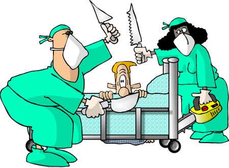 enfermera caricatura: Cirujanos y pacientes  Foto de archivo