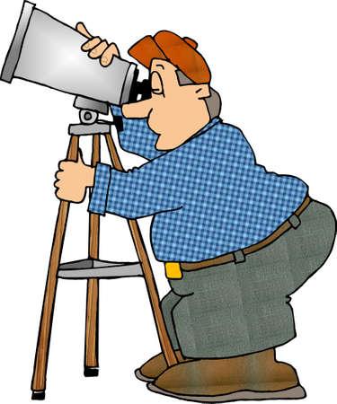 astronomer: Man looking through a telescope