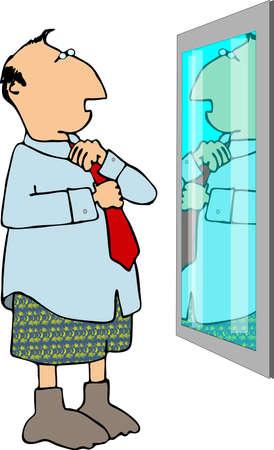 Man getting dressed in front of a mirror