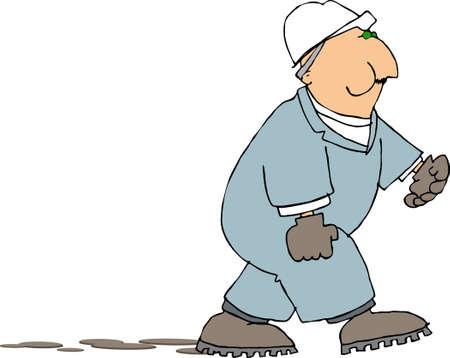 spitting: Worker spitting chew Stock Photo