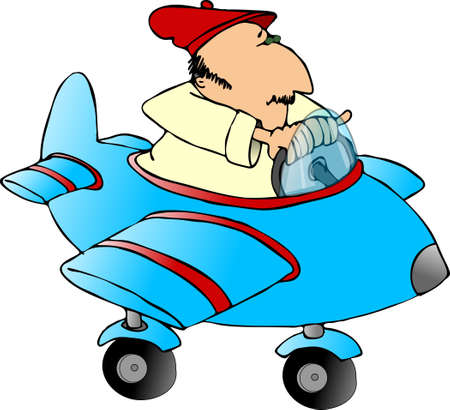 Man in a toy airplane