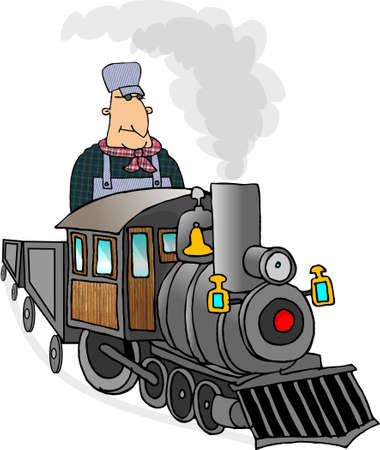 cartoon train: Train engineer Stock Photo